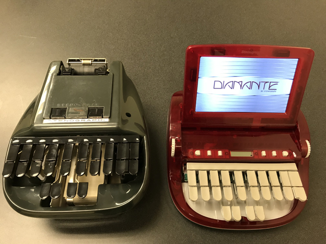 Old and new stenograph machines.